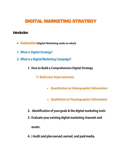 printable digital marketing strategy