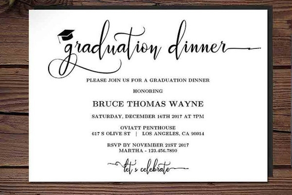 printable graduation dinner party invitation template