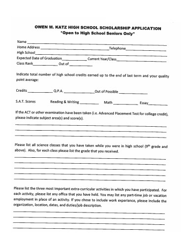 printable high school scholarship application form