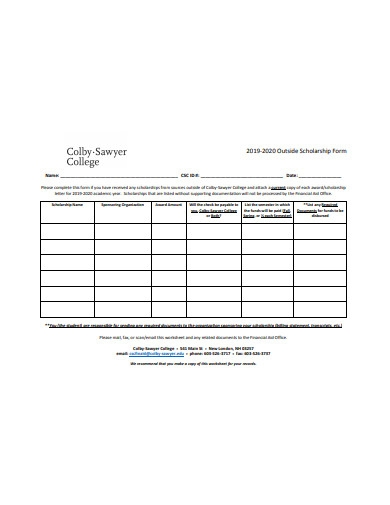 printable outside scholarship form