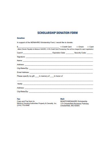 printable scholarship donation form
