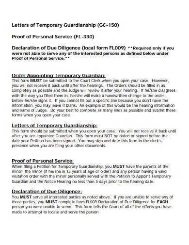printable temporary guardianship letter