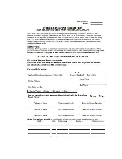 program scholarship request form