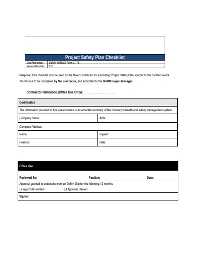 project safety plan checklist