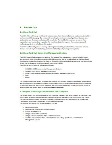 project work health and safety plan