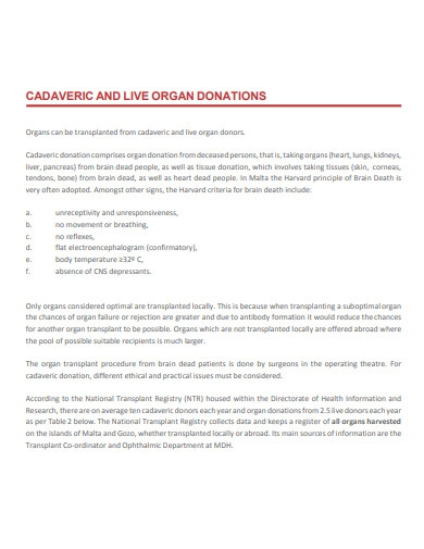 proposal for organ donation