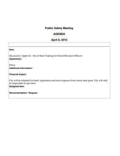public safety meeting agenda