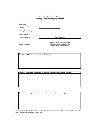 quarterly safety meeting report form
