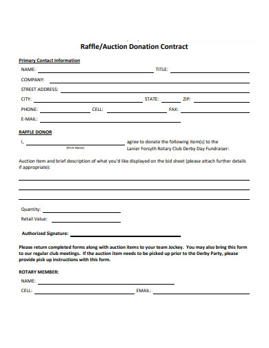 raffle auction donation contract