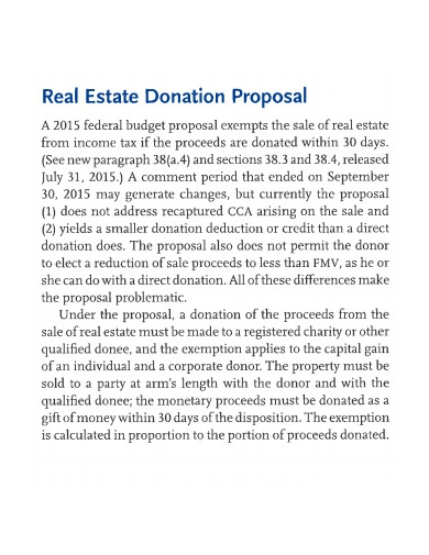 real estate donation proposal