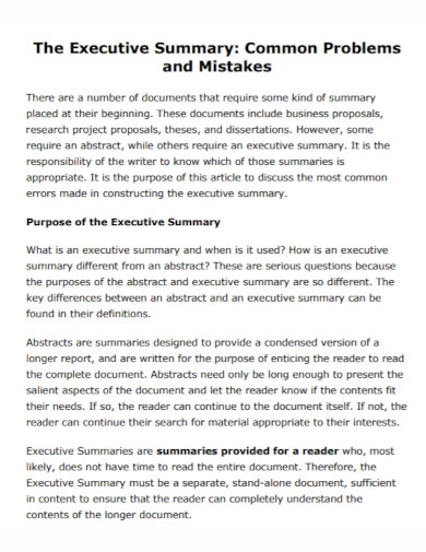 research executive summary