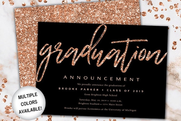rose gold graduation ceremony announcement template