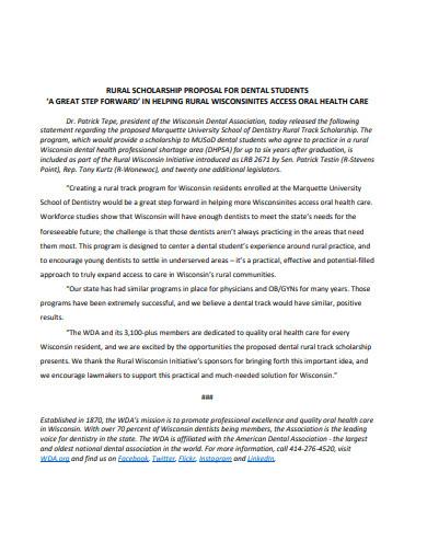 rural scholarship proposal for dental students