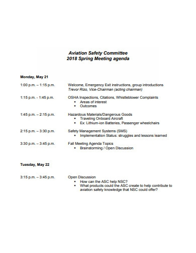 safety committee meeting agenda