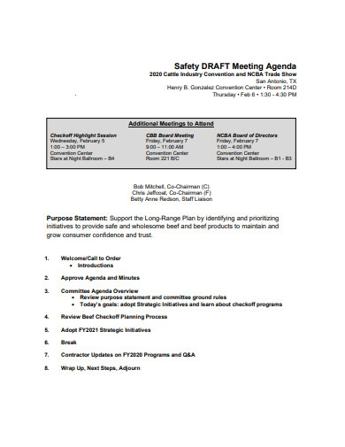 safety draft meeting agenda