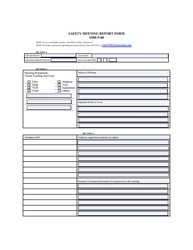 safety meeting report form