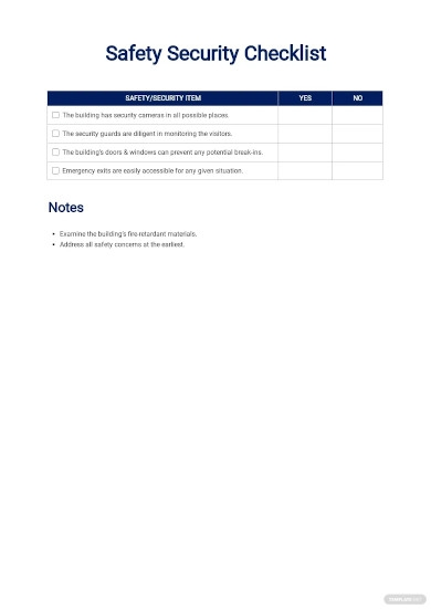 safety security checklist template1
