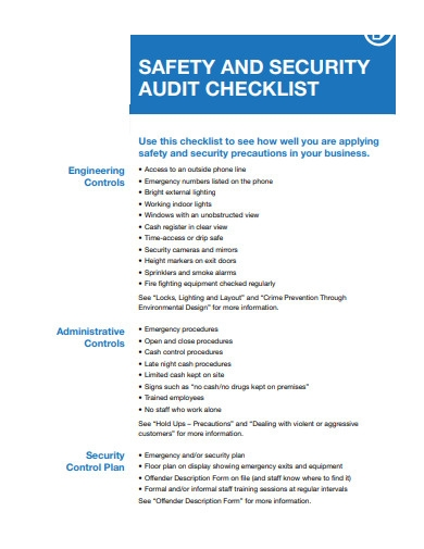 safety and security audit checklist format