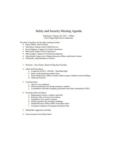 safety and security meeting agenda
