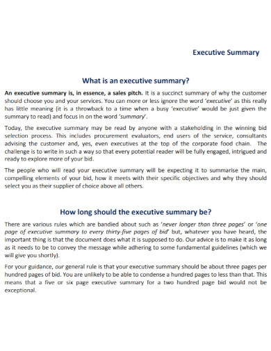 sales executive summary