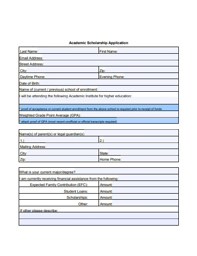 sample academic scholarship application