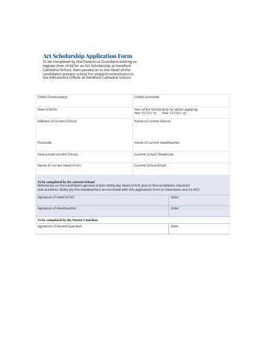 sample art scholarship application form example