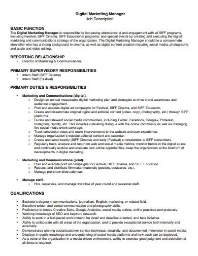 sample digital marketing manager job description
