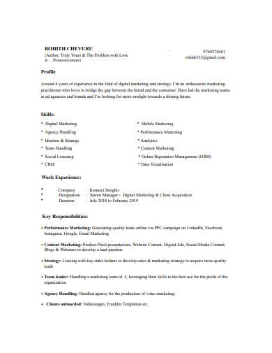 sample digital marketing resume