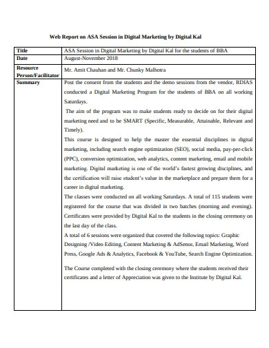 sample digital marketing web report example