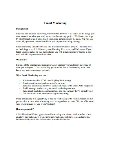 sample email marketing strategy example