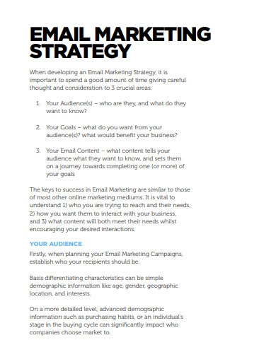 sample email marketing strategy