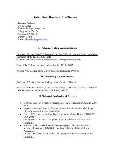 sample executive administrative resume