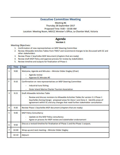 sample executive committee meeting agenda format