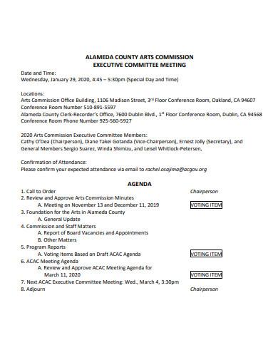 sample executive committee meeting agenda