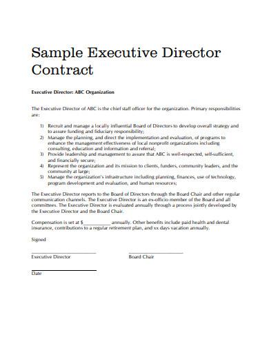 sample executive director contract