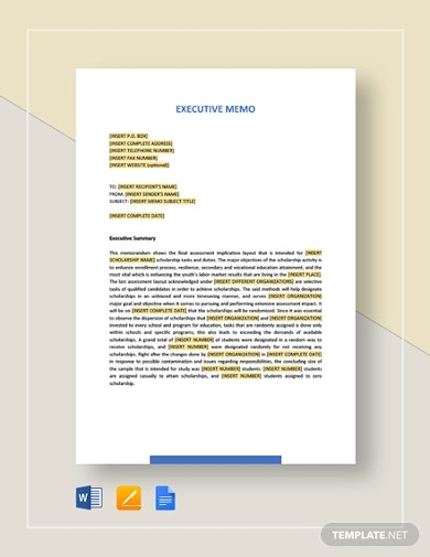 sample executive memo template