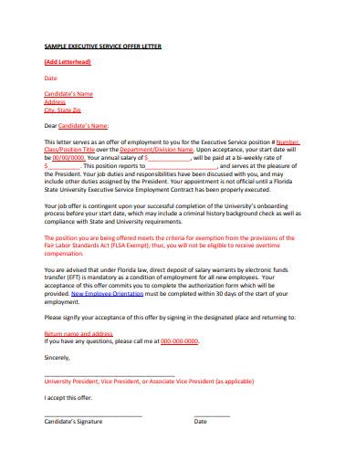 sample executive service offer letter