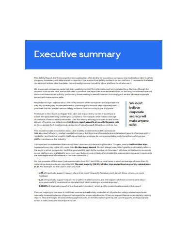 sample executive summary report