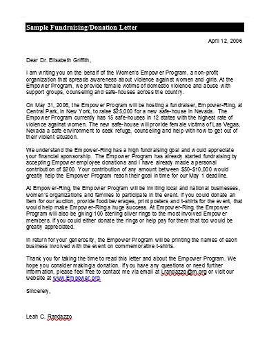 sample fundraising donation letter example