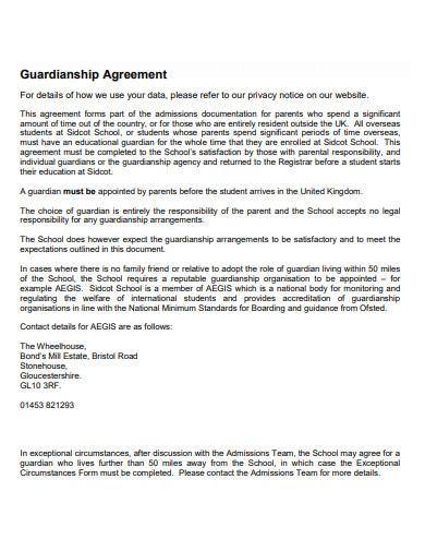 sample guardianship agreement