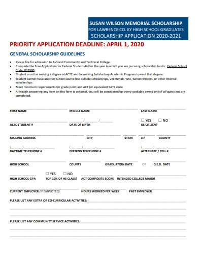 sample high school scholarship application