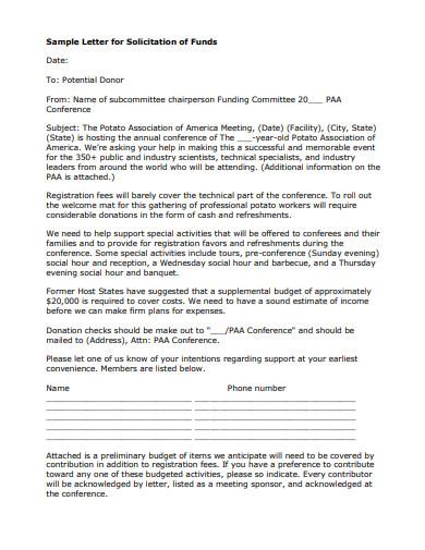sample letter for solicitation of funds