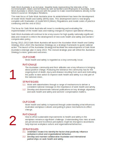 sample safe work strategic plan template