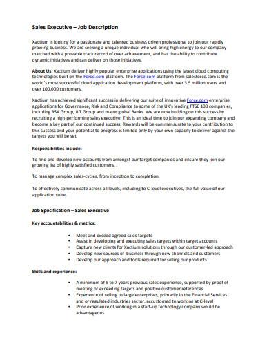 sample sales executive job description