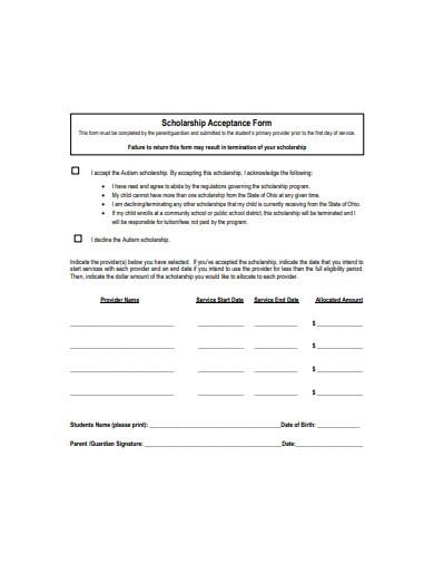 sample scholarship acceptance form