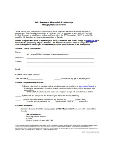 sample scholarship donation form
