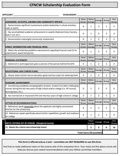 sample scholarship evaluation form