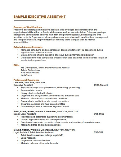 sample senior executive resume