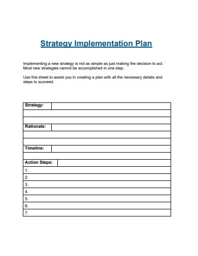 sample strategy implementation plan