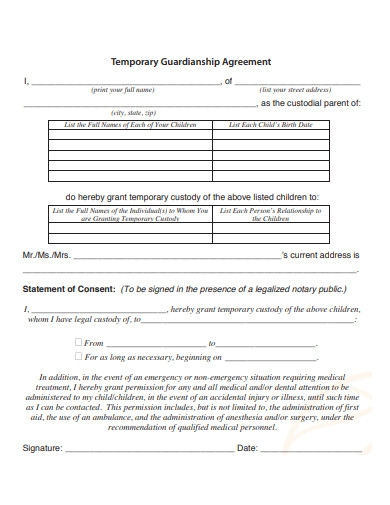 sample temporary guardianship agreement